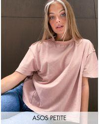 ASOS ASOS DESIGN Petite - T-shirt oversize à coutures apparentes - Vison délavé - Rose