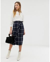 Warehouse - Wrap Skirt With Window Check In Navy - Lyst