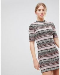First & I - Stripe Bodycon Dress - Lyst