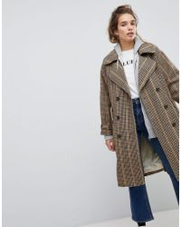 Pull&Bear - Check Print Trench Mac - Lyst