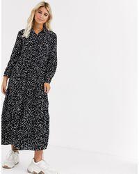 New Look Платье-рубашка Макси В Горошек -черный