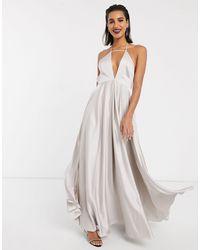 ASOS Платье Макси На Бретелях С Глубоким Вырезом И Пышной Юбкой -серый