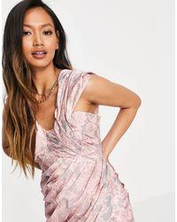ASOS - Нежно-розовое Фактурное Платье Мини На Одно Плечо Со Сборками - Lyst