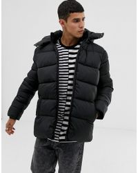 Only & Sons Hooded Puffer Jacket - Black