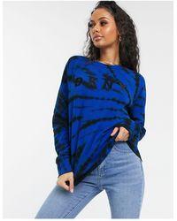 DKNY Sweatshirt Met Ronde Hals, Logo En Tie-dye - Blauw