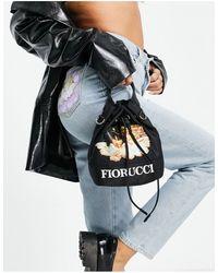 Fiorucci Cross-body Mini Pouch Bag With Angel Graphic - Black