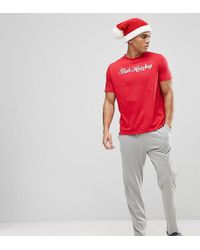 River Island | Christmas Pyjama Set With Bah Humbug Print In Red | Lyst