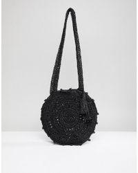 Chateau Crochet Circular Cross Body Bag - Black