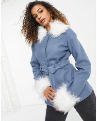 UNIQUE21 Пальто С Меховой Отделкой Синего Цвета -голубой - Синий