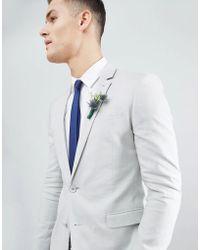 ASOS - Wedding Super Skinny Suit Jacket In Ice Grey Linen - Lyst