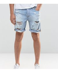ASOS - Tall Slim Denim Shorts In Light Bleach Wash Blue With Rips - Lyst