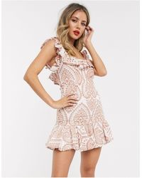 Bardot Broderie Flippy Hem Mini Dress - Multicolour