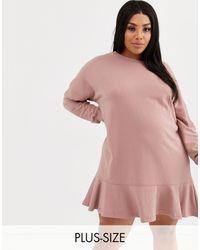 Missguided - Frill Hem Sweatshirt Dress - Lyst