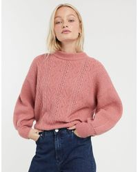 Monki Pointelle Knit Sweater - Pink