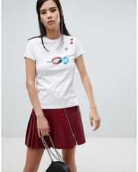 Fred Perry - X Amy Winehouse Foundation Rose Lips White T-shirt - Lyst