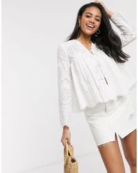 ASOS Broderie Bed Jacket - White