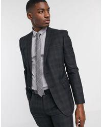 Ben Sherman Charcoal Plaid Check Slim Fit Suit Jacket - Grey