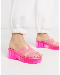 ASOS Favorite Chunky Double Strap 90s Jelly Sandals - Pink