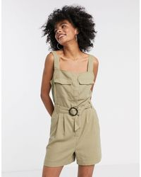 ONLY Utility Playsuit With Belted Waist - Green