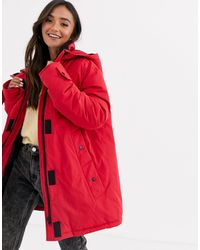 ASOS Borg Lined Anorak Coat - Red
