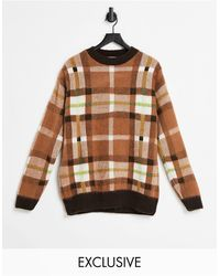 Collusion Unisex Brushed Check Sweater - Brown