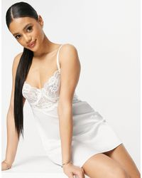 Ann Summers Enticing Lace And Satin Detail Chemise - White