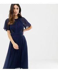 75d6deefccd6 ASOS - Pleated Panelled Flutter Sleeve Midi Dress With Lace Inserts - Lyst