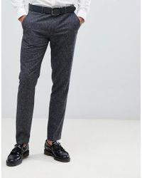 Farah Pantalones de traje de corte slim jaspeados Henderson - Gris
