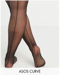 ASOS ASOS DESIGN Curve – Strumpfhose mit Naht hinten - Schwarz