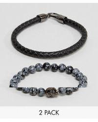 Simon Carter - Bead & Leather Bracelet In 2 Pack - Lyst