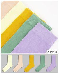 ASOS Набор Из 5 Пар Носков До Щиколотки Пастельных Цветов - Многоцветный