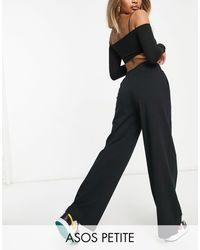 ASOS Asos Design Petite Low Rise Straight Leg jogger With Pintuck - Black