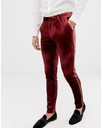 ASOS Super Skinny Smart Trouser In Burgundy Velvet With Gold Piping - Red