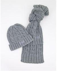 Ben Sherman Hat & Scarf Gift Set - Grey