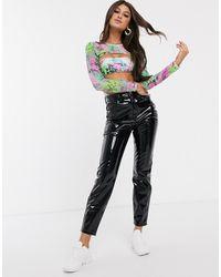 ASOS Farleigh - Smalle Mom Jeans Met Hoge Taille Van Zwart Vinyl