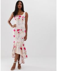 Chi Chi London Floral Embroidered High Low Dress With Square Neck In Neon Floral - Pink