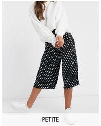 Miss Selfridge Petite Plisse Culotte Pants - Black