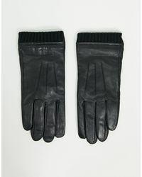 Barneys Originals Barneys Original Leather Cuffed Touchscreen Gloves - Black