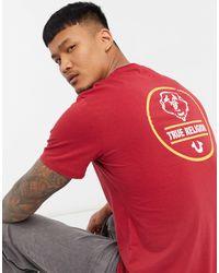 True Religion Camiseta roja con logo en la espalda - Rojo
