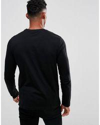 ASOS – 2er-Set langärmlige Shirts mit Rundhalsausschnitt, Rabatt - Schwarz