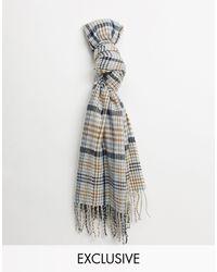Reclaimed (vintage) Bufanda de cuadros neutros unisex estilo manta de -Marrón - Azul