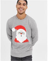 Jack & Jones Sweat-shirt motif père Noël - Gris