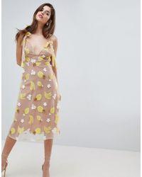 For Love & Lemons - Fruit Punch Sequin Midi Dress - Lyst