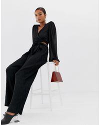 Minimum Moves By Tie Waist Pants - Black