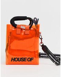 House of Holland Transparente Mini-Tragtasche mit Umhängeriemen - Orange