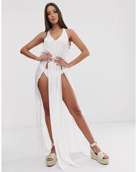 South Beach Эксклюзивное Пляжное Платье Макси Белого Цвета С Разрезом -белый