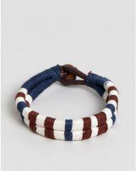 Jack & Jones - Cotton Leather Woven Bracelet - Lyst