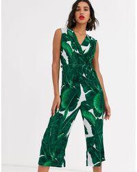 AX Paris Jumpsuit Met Tropische Palmprint - Groen