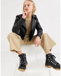 SELECTED Femme - Blouson en cuir style motard - Noir
