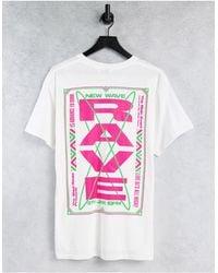 TOPMAN T-shirt bianca oversize con stampa Rave davanti e dietro - Bianco